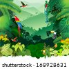 Vector Illustration Jungle Rainforest with Frog, Toucan, quetzal, humming-birds and Ara - stock vector