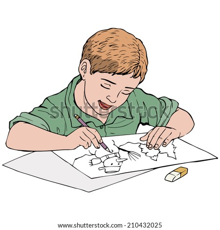 Vector illustration, kid drawing, cartoon concept, white background. - stock vector