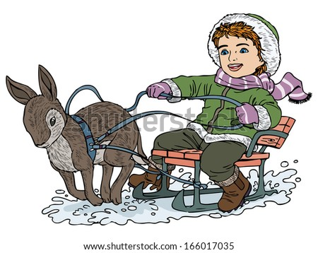Vector illustration, kid on a sleigh pulled by rabbit, cartoon concept, white background. - stock vector