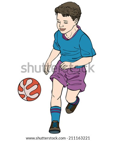 Vector illustration, kid with ball, cartoon concept, white background.