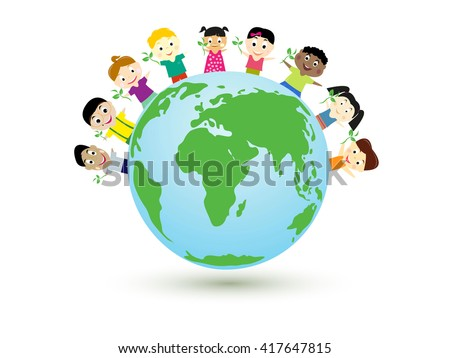 Vector illustration, kids building a new world. - stock vector