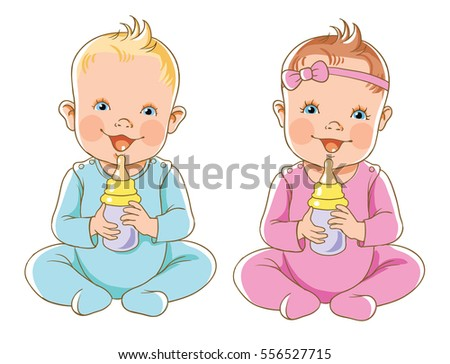 vector illustration kids girl and boy with bottle of milk - Cartoon Picture Of Child