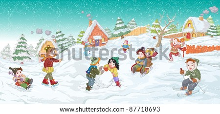 Vector illustration, kids playing on winter, card concept. - stock vector