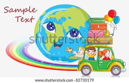 Vector illustration, kids traveling around the world, card concept.