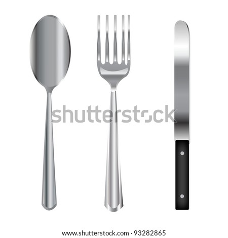 Vector illustration kitchen tools.Spoon with fork and knife