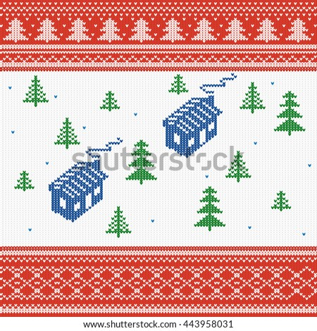 vector illustration. Knitted texture, house with Christmas trees, Nordic pattern winter sweater