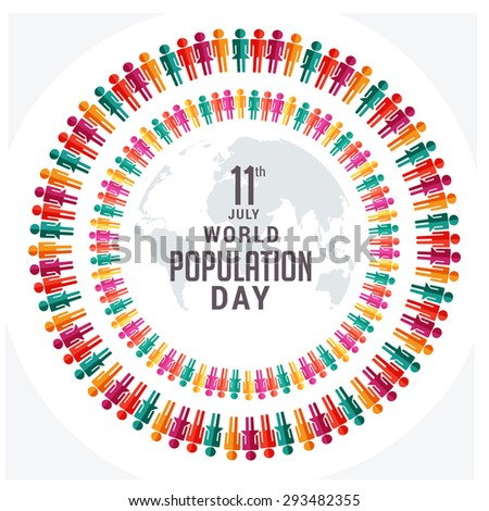 Vector illustration Large group of people gathered together.Population day. - stock vector