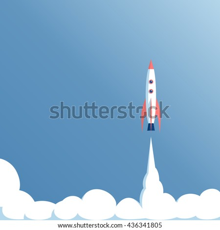 vector illustration launch the spacecraft or spaceship on a blue background, spacecraft takeoff, startup concept