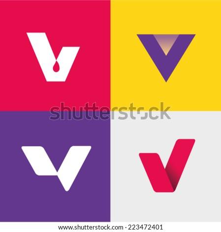 Vector illustration letter v set - stock vector