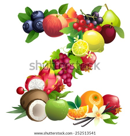 Vector illustration Letter Z composed of different fruits with leaves - stock vector
