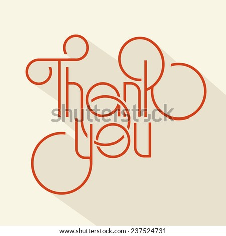 vector illustration lettering header thank you, design element - stock vector