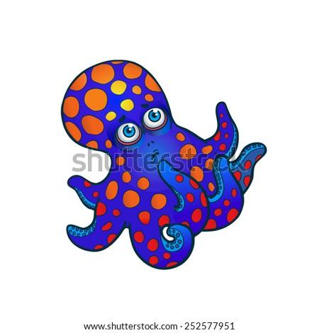 vector illustration. little cute octopus. - stock vector