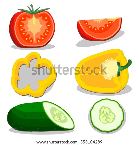 Vector illustration logo for whole ripe vegetables tomato,cucumber,pepper,with green stem,cut sliced.Cucumber drawing pattern consisting of peel fruits,pip ripe sweet food.Eat fresh cucumbers health.