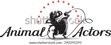 Vector illustration logo or banner template with wild cartoon boar singing into a microphone with inscription Animal Actors. - stock vector