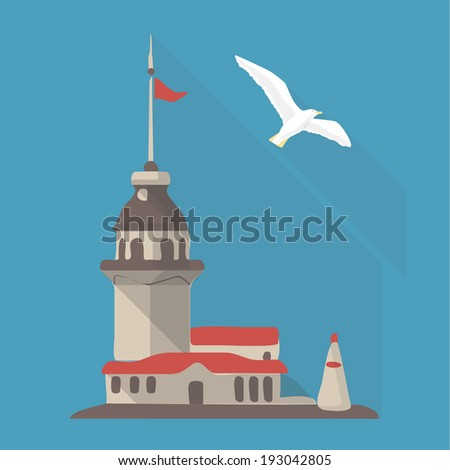 Vector illustration long shadow flat icon of  maiden's tower - stock vector