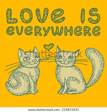 Spring Cartoon Cats Set Kittens On Stock Vector 365570891 ...