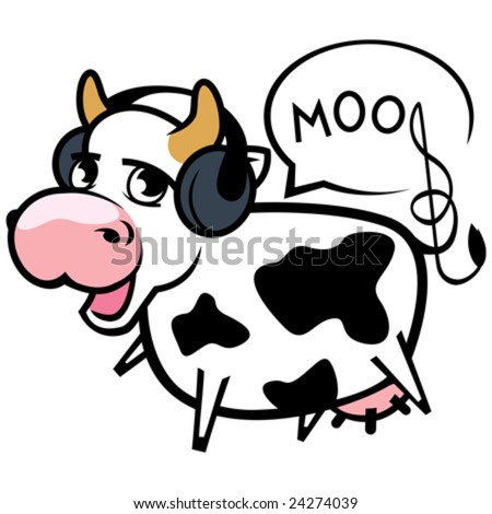 Vector illustration. Lovely musical cow with ear-phones