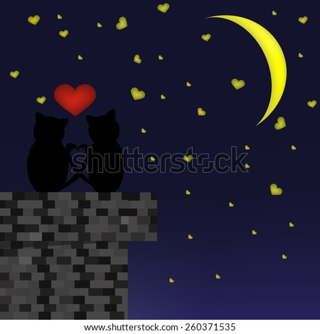 Vector illustration. Lovers cats sitting on the roof of a brick house. Looking at the crescent and star. - stock vector