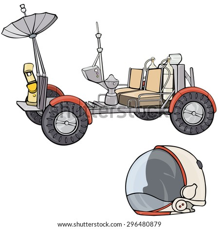 Vector illustration, lunar vehicle, cartoon concept, white background.