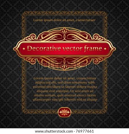 Vector illustration - Luxury golden vintage calligraphic framed labels - stock vector