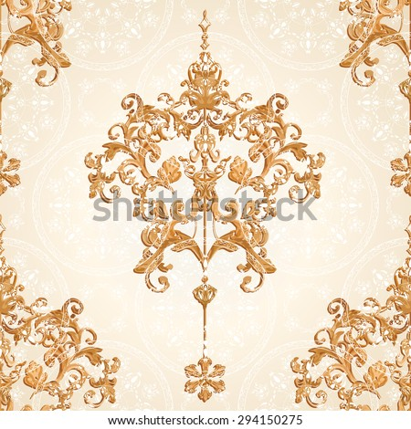 Vector illustration. luxury texture for wallpapers, fabric patterns Baroque, Damask seamless floral pattern.  - stock vector