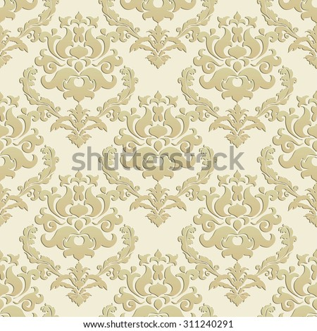 Vector illustration. luxury texture for wallpapers, fabric patterns Baroque, Damask seamless floral pattern.