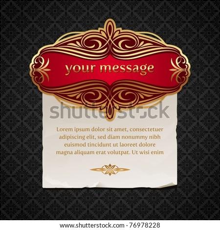 Vector illustration - Luxury vintage golden framed labels with paper banner - stock vector