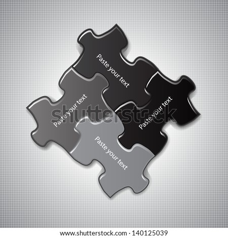 Vector illustration made from puzzle pieces - stock vector