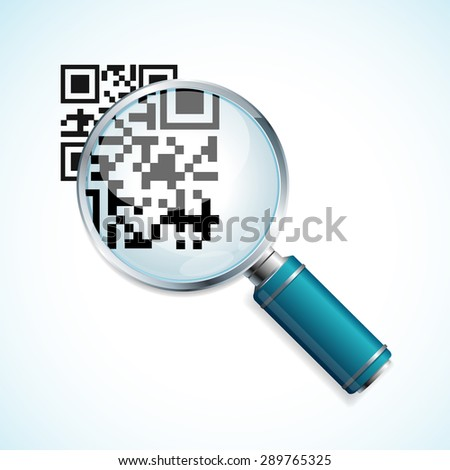 Vector illustration magnifier and black qr code identification isolated on a white background - stock vector