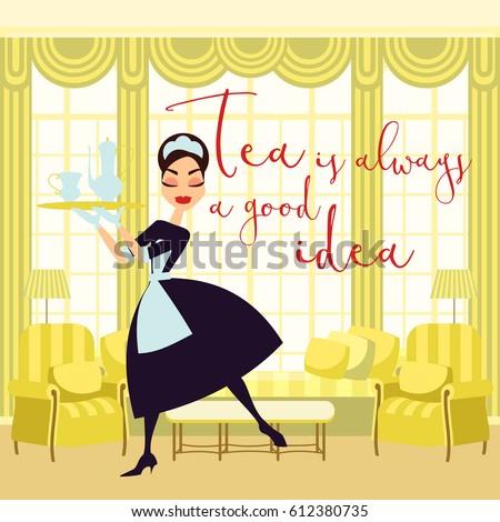 Vector illustration maid classic uniform tea stock vector for Uniform spa vector