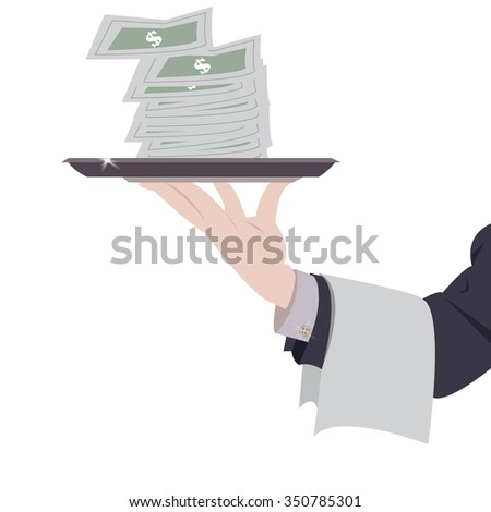 Vector illustration male holding tray with money
