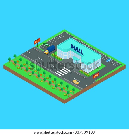 Vector illustration. Mall on a city street. Road, car, truck, Park. Isometric.