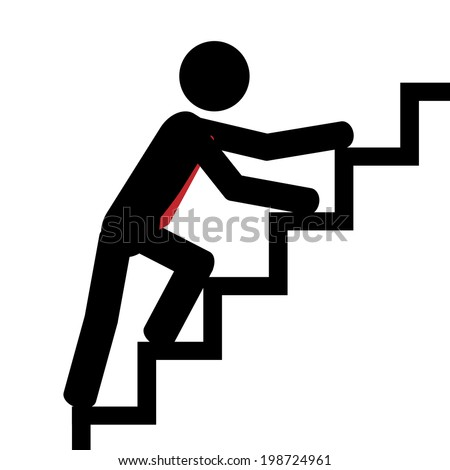 Vector/illustration. Man trying to climb the stairs. - stock vector