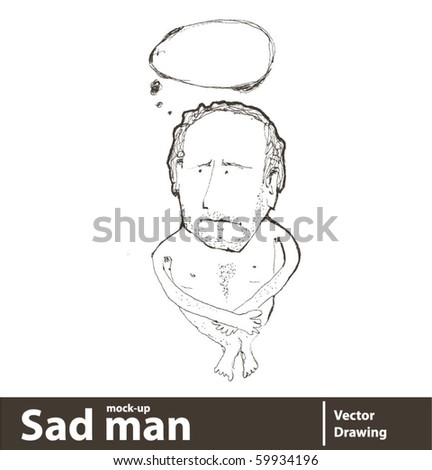 Vector illustration. Man with speech bubble. You can place your text on blank speech bubble. - stock vector