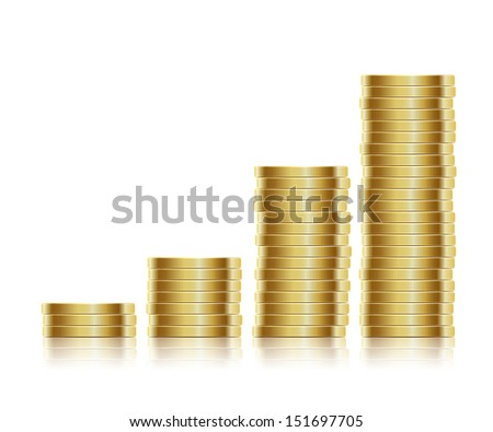 Vector illustration. Many gold coins isolated on white background. Loose Change. EPS10. - stock vector