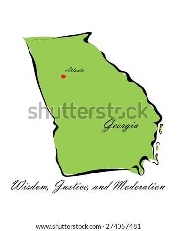 Vector illustration map Georgia of America isolated on a white background - stock vector