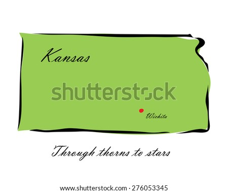 Vector illustration map Kansas is one of the states of America isolated on a white background - stock vector