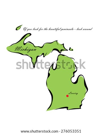 Vector illustration map Michigan is one of the states of America isolated on a white background - stock vector