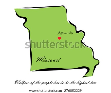 Vector illustration map Missouri is one of the states of America isolated on a white background - stock vector