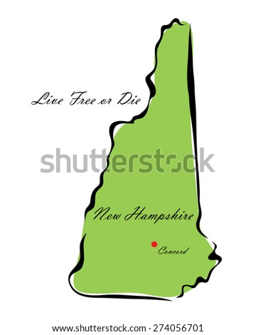 Vector illustration map New Hampshire of America isolated on a white background - stock vector