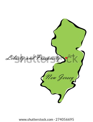 Vector illustration map New Jersey of America isolated on a white background - stock vector
