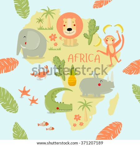 Vector illustration map of Africa. On it are the lion, rhino, elephant, monkey, crocodile, bananas, pineapple, crab, starfish, fish, cactus. It can be used in a book, printed on fabric - stock vector