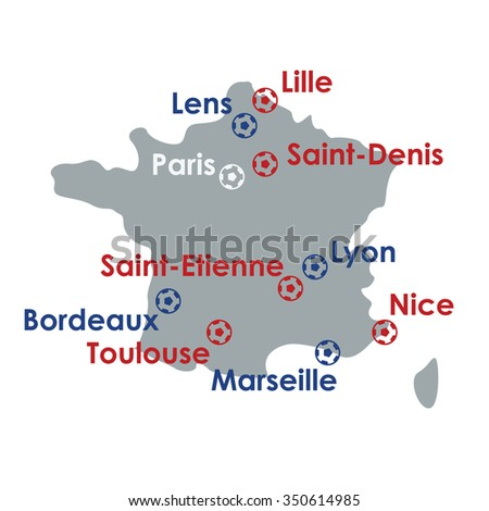 Vector illustration / map of  France / sport events - stock vector