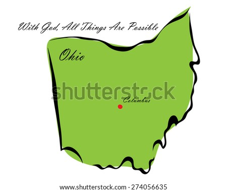 Vector illustration map Ohio of America isolated on a white background? - stock vector