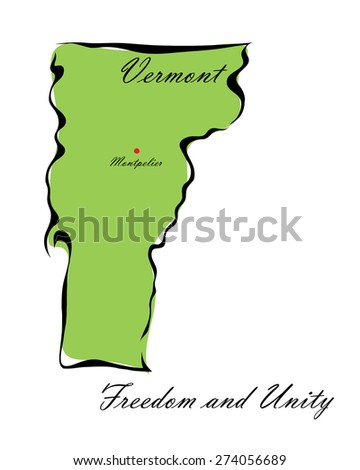 Vector illustration map Vermont of America isolated on a white background - stock vector