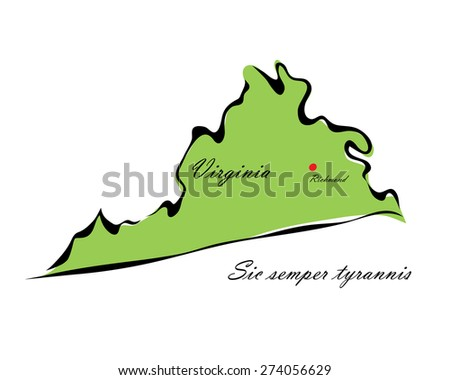 Vector illustration map Virginia of America isolated on a white background - stock vector