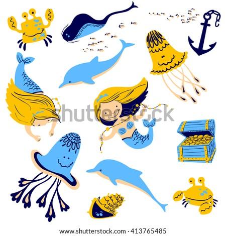 Vector illustration marine set with cartoon mermaid and underwater inhabitants - stock vector