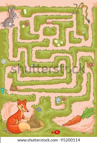 Vector illustration, maze, help the bunny reach the carrot without being caught by the snake or fox, card concept. - stock vector