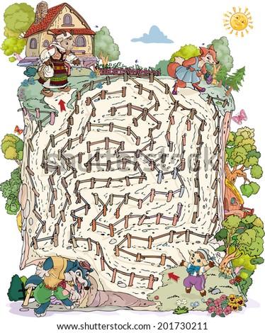 Vector illustration, maze, help the fawn reach mother goat, card concept. - stock vector