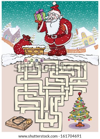 Vector illustration, maze, how Santa can reach the Christmas tree without being caught in mice trap, card concept.
